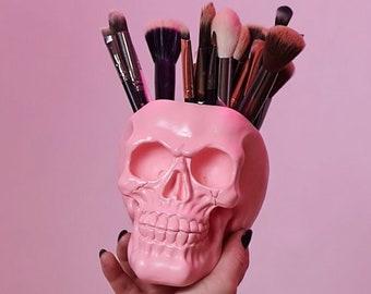 Skull makeup brush holder, Skull vase, Human skull, Pen holder, Makeup organizer, Skull decor, Skull, Painted Skull, Human Skull, Halloween