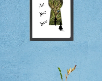 We're All Mad Here, Digital Photo. Printable Art, Inspirational Quote, Typography Print, Wall Decor, Digital Download