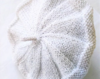 Hand Knitted White Beret with I cord on top/ Sparkly Fashion DK yarn/ from new born to 3 month old
