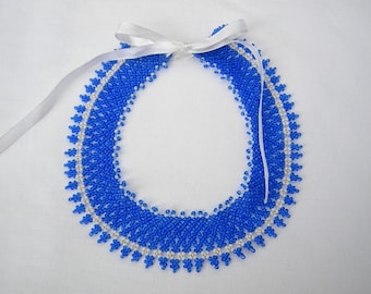 Cute blue-white vintage style seed beaded handmade statement, collar necklace