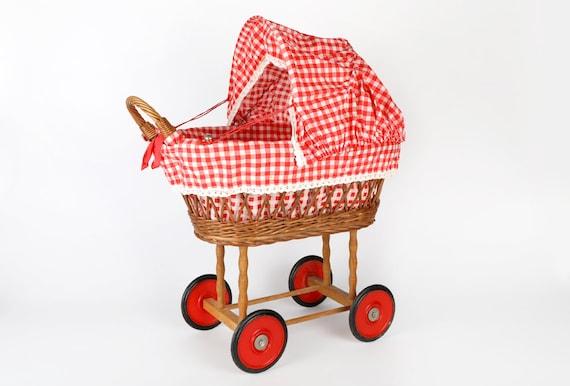 Landau poupées jouets Vintage-rotin avec garniture damier