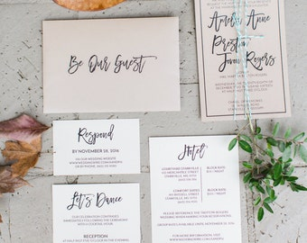 Printable Wedding Invitation Suite | Brush Script, Natural, Organic, Kraft, Turquoise, Simplistic, Invitation Set, DIY Wedding Invite Set