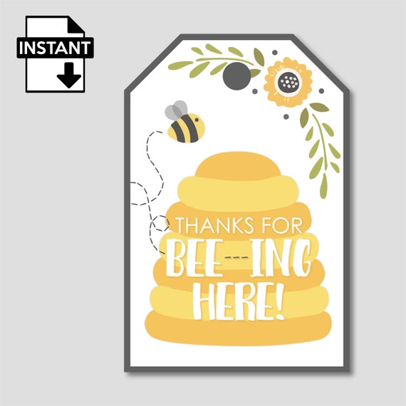 Bee Hive Thank you for bee-ing here Personalised Honey Wedding Favour Tag