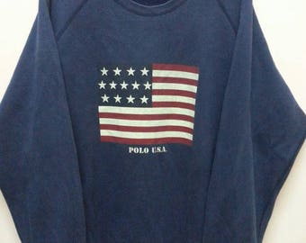 Vintage 90's Polo Usa Ralph Lauren Sweatshirt / Biglogo / Spellout / HipHop style / Swag/Lolifes/Polo Stadium/Polo 1992/large size of 90.s