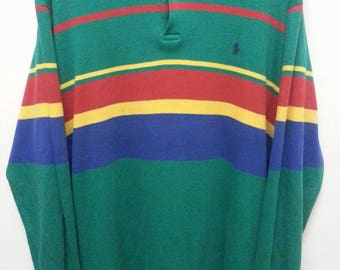 Vintage 90's Polo Ralph Lauren T - shirts Long Sleeve shirt Small Unicorn Large size Multicolour Made in Malaysia