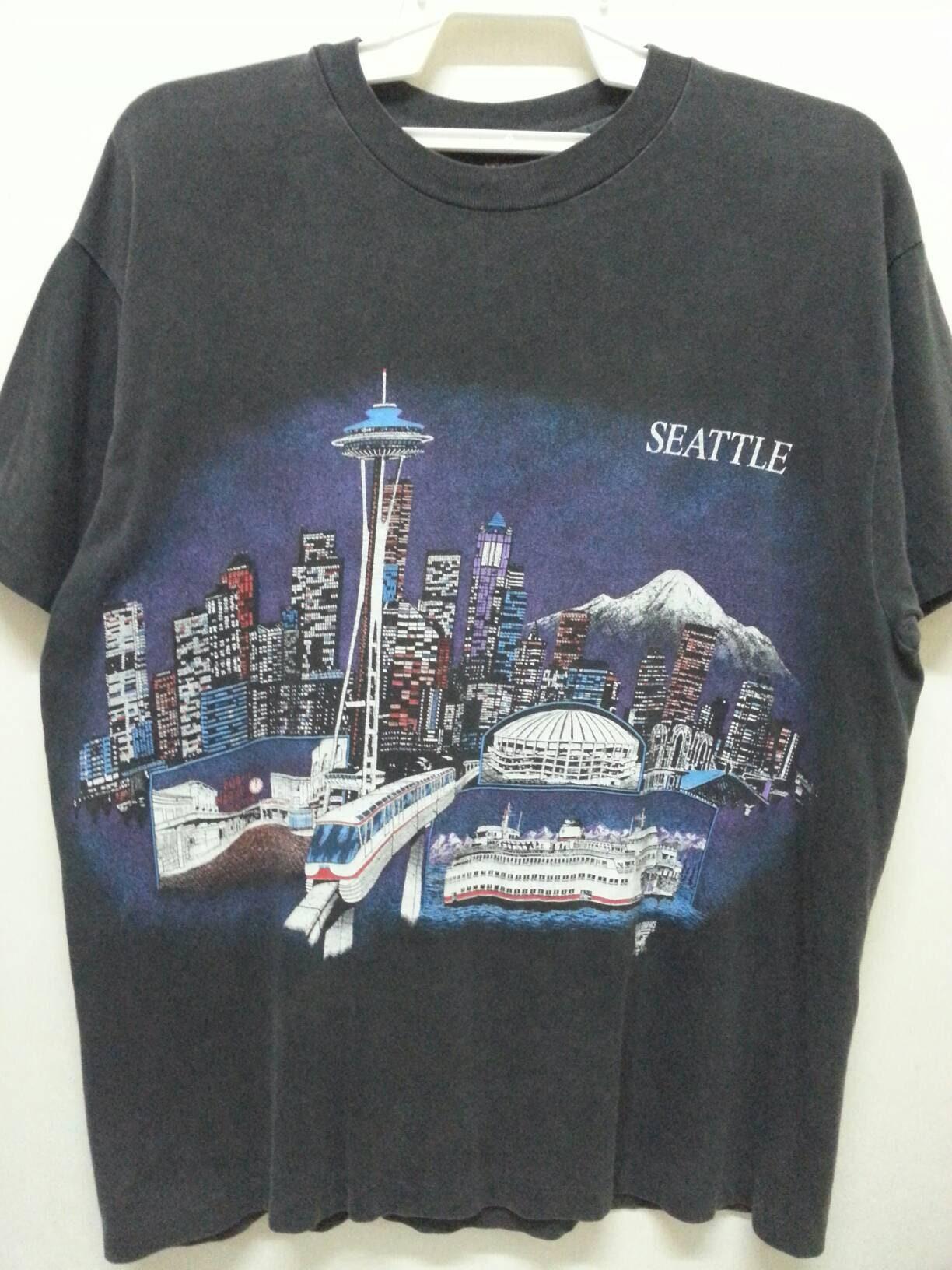 Vintage 90s Seattle Souvenir T Shirts Large Size Grunge Etsy