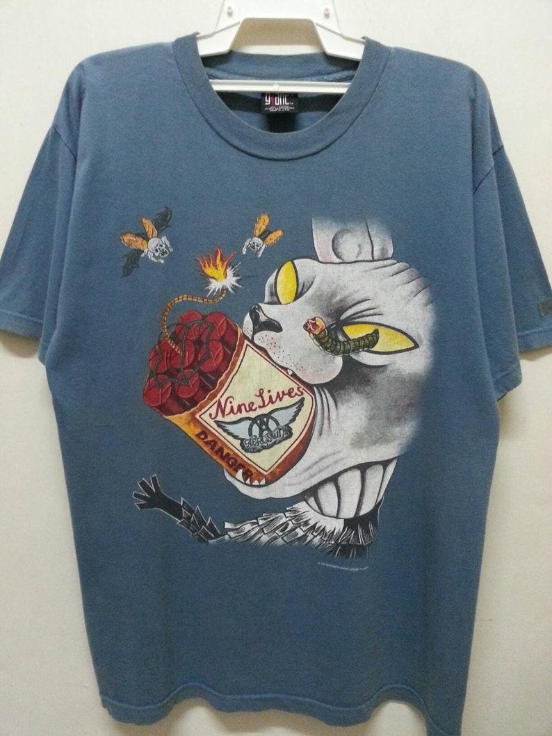 06ea7ad4d Vintage 90s Aerosmith Nine Lives World Tour T-Shirt Large Size | Etsy