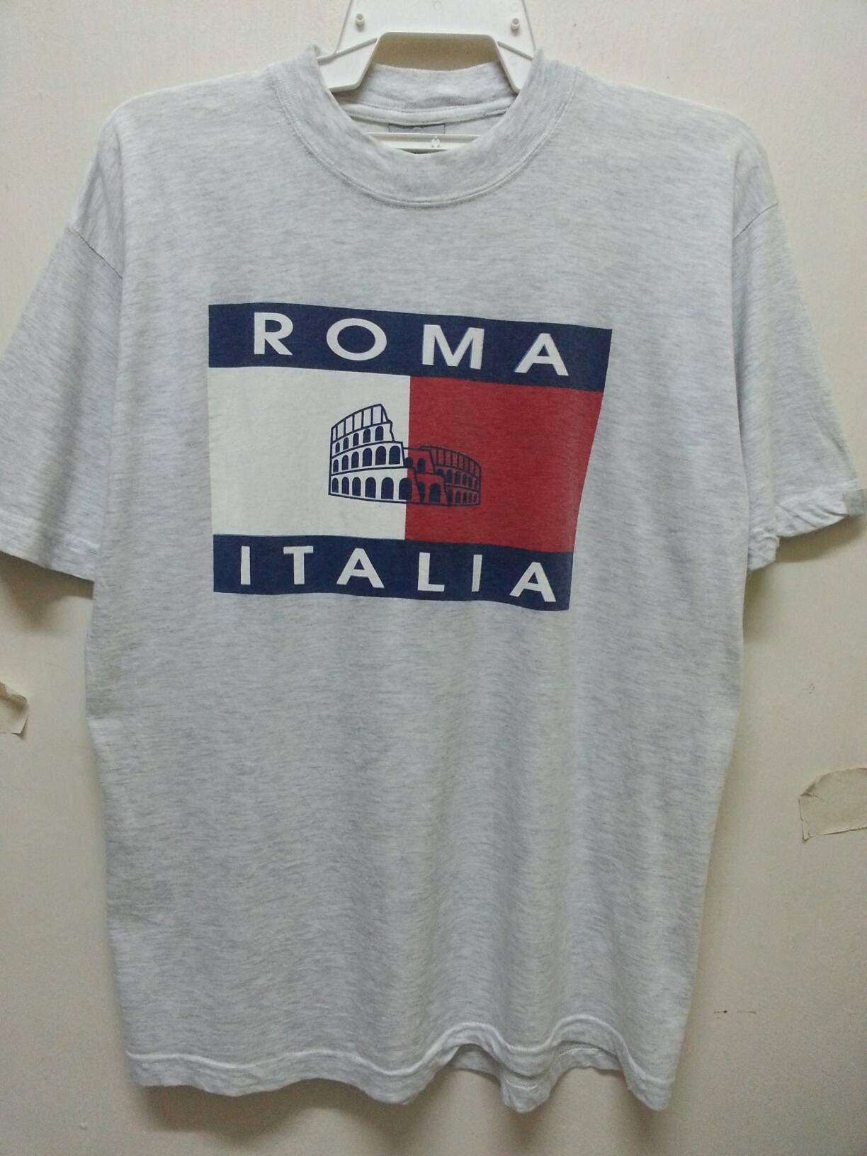 super popular 2fce5 55c45 Vintage 90s Roma Italia Tommy Hilfiger Parody Souviner T-Shirts Large Size  Fit Medium
