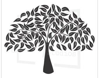bare tree stencil 2 family tree stencil tree stencil tree etsy