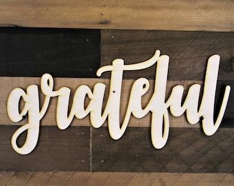 Grateful Word Sign, Grateful Wood cut out, 3d Wood Sign, Grateful word cut out, Greateful Cursive Word, word cut out, custom word cutout