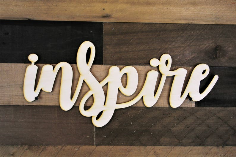 364dc495356d8 Inspire Word Cutout Inspire Wood cut out 3d Inspire Wood