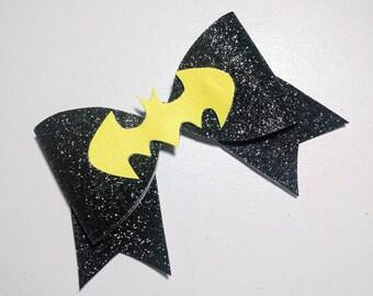 Batgirl & Batman Inspired Glitter Bow // Black Glitter Bow // DC Comics Bow // Hair Bows // Girls Bows // Hair Accessory // Hair Bow