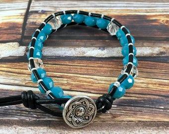 Wrap Bracelet, Blue and Crystal Wrap Bracelet, Leather Wrap Bracelet, Beaded Wrap Bracelet, Beaded Bracelet, Leather Wrap, YoungBeadsCrafts