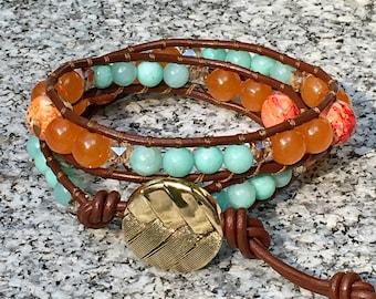 Wrap Bracelet, Aqua/Orange Wrap Bracelet, Leather Wrap Bracelet, Beaded Wrap Bracelet, Beaded Bracelet, Leather Wrap, YoungBeadsCrafts
