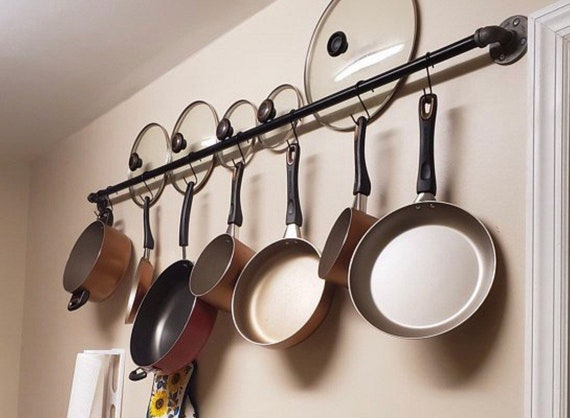 Kitchen Pots and Pans Hanging Wall Storage | Hanging Rack | Kitchen Rack
