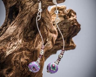 Violet Spiral Earrings