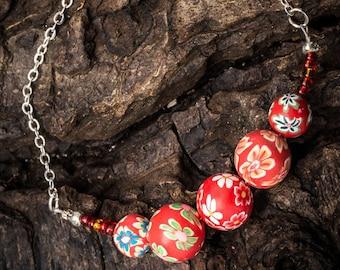 Handmade Floral Bead Bracelet - Handcrafted Boho Jewellery - Ruby Red Polymer Clay Bracelet