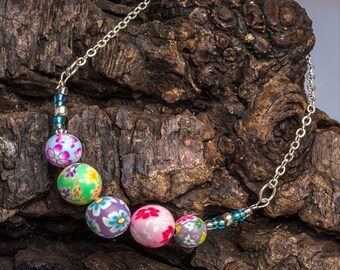 Spring Colours Bead Bracelet - Beaded Bracelet - Polymer Clay & Sterling Silver Bead Bracelet - Handmade Boho Jewellery