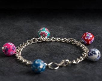 Floral Bead Charm Bracelet - Sterling Silver Charm Bracelet - Handmade Polymer Clay Charm Bead Bracelet - Handcrafted Boho Jewellery