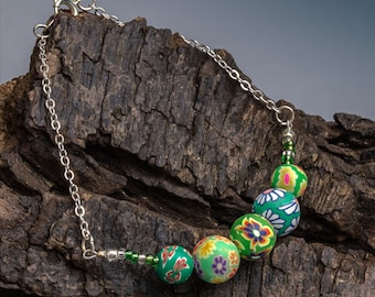Jade Green Bead Bracelet - Sterling Silver Beaded Bracelet - Handmade Floral Jewellery - Handcrafted Boho Jewellery