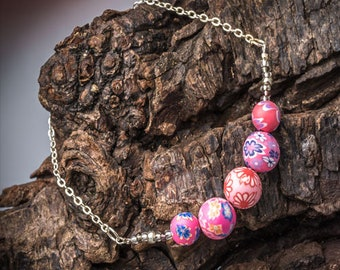 Handmade Floral Bead Bracelet - Handcrafted Boho Jewellery - Rose Pink Polymer Clay Bracelet  - Sterling Silver Beaded Bracelet