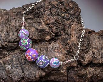 Beaded Bracelet - Floral Bead Bracelet - Handmade Boho Jewellery - Purple Violet  Polymer Clay Bead Bracelet