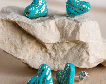 Heart Stud Earrings - Love Hearts - Handmade Colourful Stud Earrings