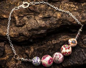 Beaded Bracelet - White Flower Bead Bracelet - Polymer Clay & Sterling Silver Bead Bracelet - Handmade Boho Jewellery