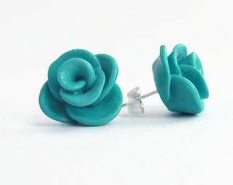 Teal Rose Stud Earrings - Handmade Polymer Clay Rose Studs