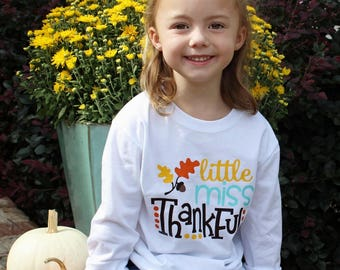 Little Miss Thankful Bodysuit or T-Shirt with optional matching headband - Infant, Toddler, and Youth Sizes