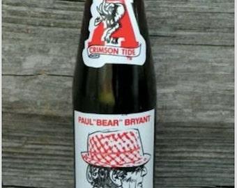 Alabama Crimson Tide   Vintage    Paul Bear Bryant   Coke Coca Cola   Bottle   10oz    Glass Commemorative 315   Collectible