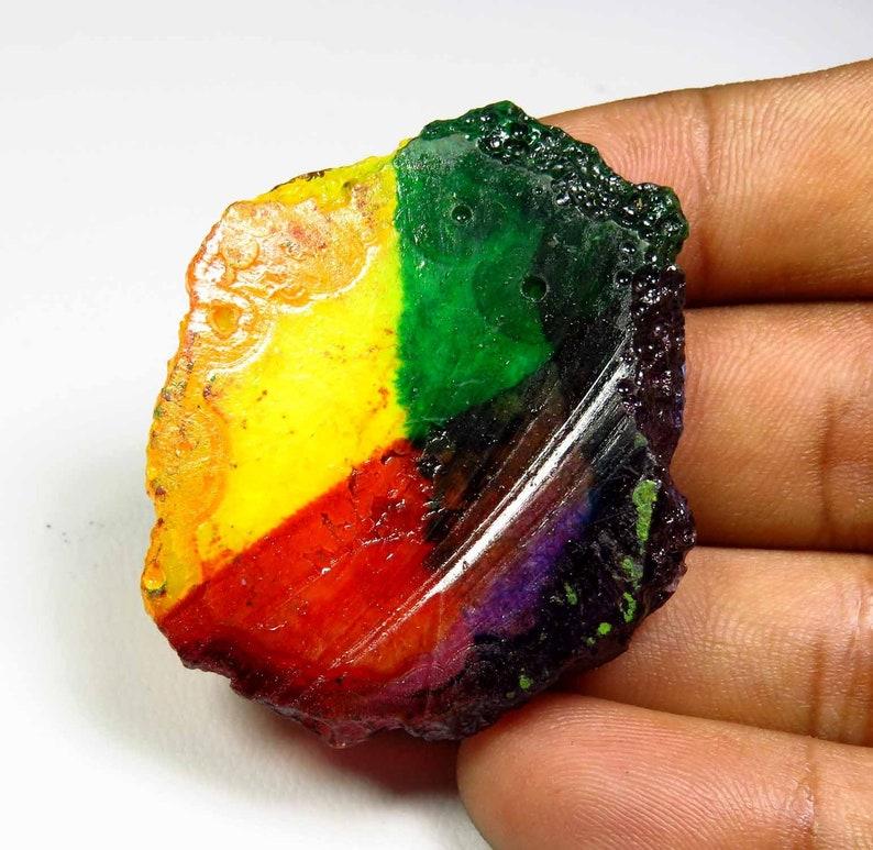 44x36 mm KB-3796 Solar Quartz Solar Slice Agate Geode Multi Color Rainbow Solar Slice Gemstone Loose Solar Quartz Cabochon Top Grade