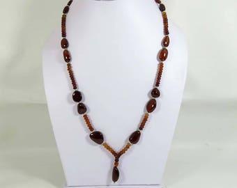 Natural Hessonite garnet. Hessonite Garnet Necklace. Rondelle & Tumble Garnet necklace. hessonite garnet beads Necklace for Girls HEN-54
