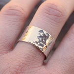 Wide band hammered sterling silver ring