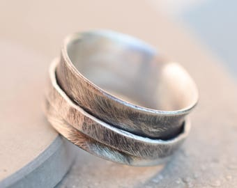 Rustic spinner ring, wide band hammered sterling silver ring, 10 mm sterling silver ring, wide band silver ring