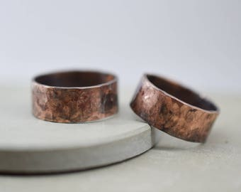Rustic copper ring, hammered oxidized band copper ring, anniversary rings