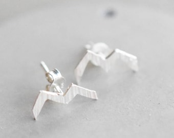 Hammered mountain stud earrings, sterling silver mountain studs, heights earrings