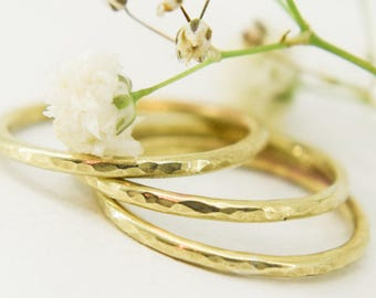 1.5 mm brass stacking ring, stackable ring, hammered brass ring