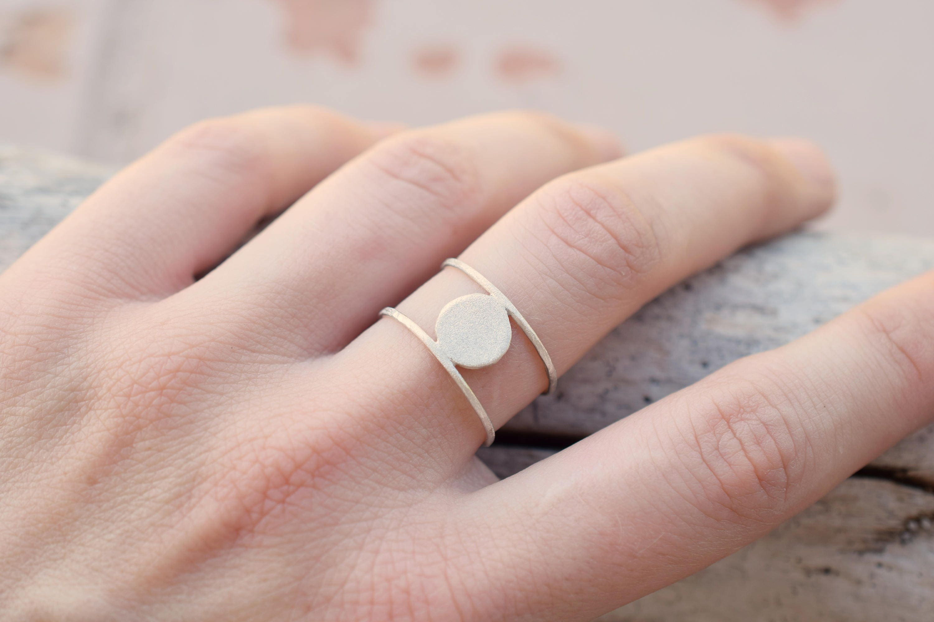 Double sterling silver ring with circle stacking silver ring