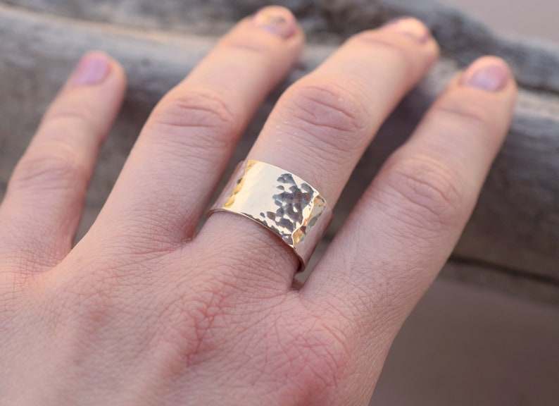 Wide band hammered sterling silver ring image 0
