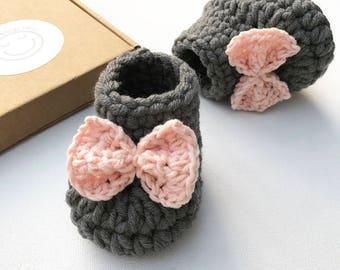 Baby girl crochet booties, pink crochet booties, new baby girl, baby shower gift, gender reveal, new baby gift, baby girl gift, baby booties