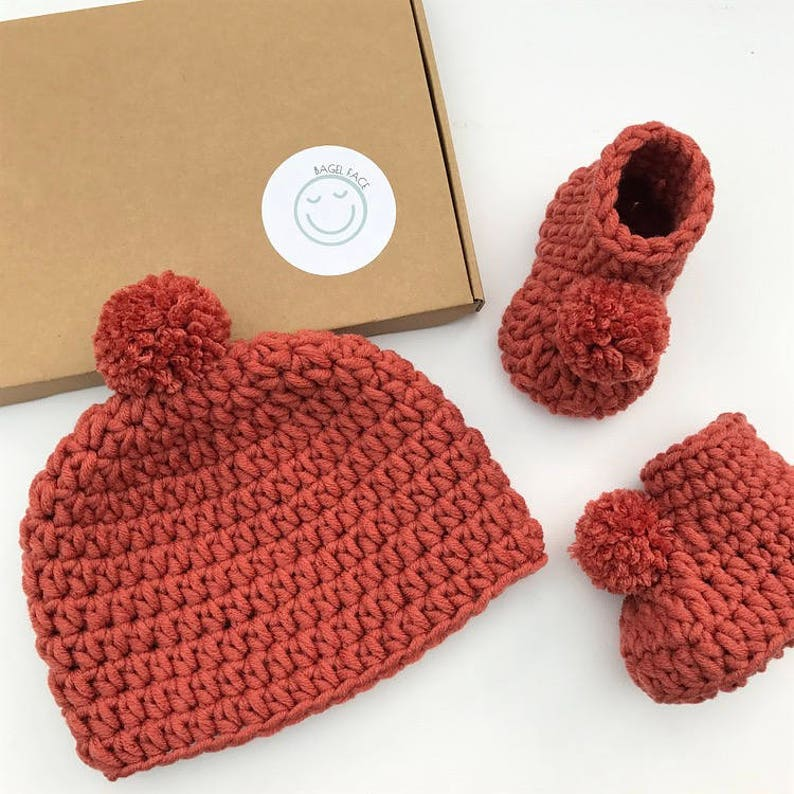 b1387abc2d9f Crochet baby hat and booties new baby gift set gender