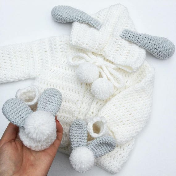 5059d59684f53 New baby gift set, baby bunny cardigan, hooded cardigan, baby shoes,  crochet baby gift, baby shower gift, crochet baby set, baby boy gift