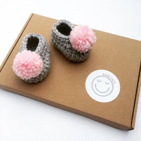 0bab7350e33a Crochet baby girl shoes Grey crochet baby shoes Pink pom pom