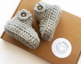 Grey baby booties, crochet baby booties, grey baby shoes, new baby gift, crocheted baby shoes, newborn baby booties, baby shower gift