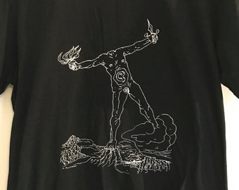Acéphale Hand Screened T-Shirt in Black