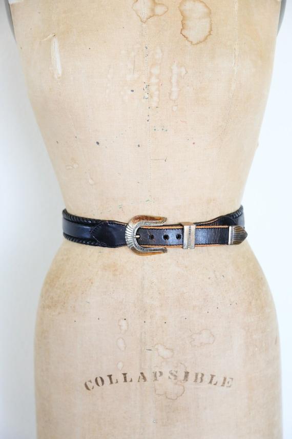 Vintage South Western Black Leather Belt // Round… - image 3