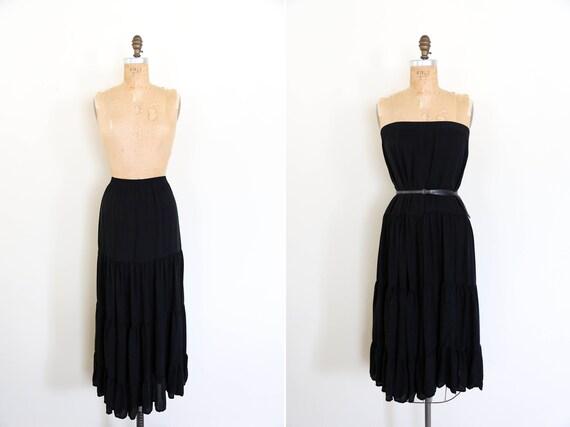 Vintage 90s short black A line silky flowy elastic waist raw edge hem rayon minimalist black skirt