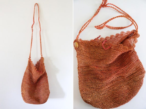 Vintage Rust Orange Straw Bohemian Bag // Philipin