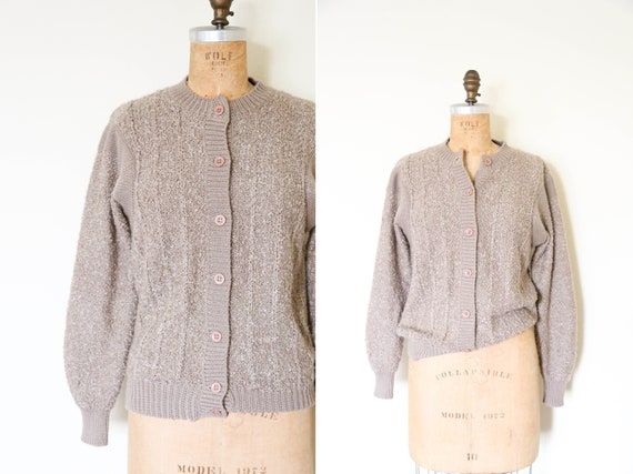 Vintage Taupe Fuzzy Teddy Cardigan // Light Brown